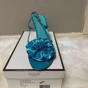 Turquoise Coach heel sandals